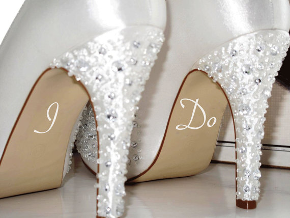 I Do Wedding Decal Bride Shoe Sticker Marry Married To Be Gift Day Something Blue New