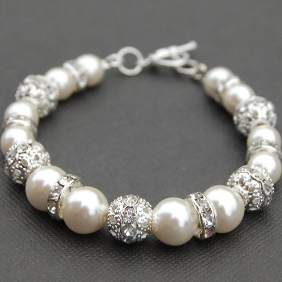 Bridal Jewelry Ivory Pearl Rhinestone Bracelet Bling Wedding Jewelry Bridesmaid Gift Pick