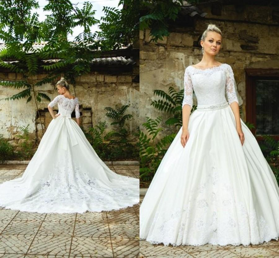 Modest 2015 spring wedding dress with sheer lace applique for Modest a line wedding dresses