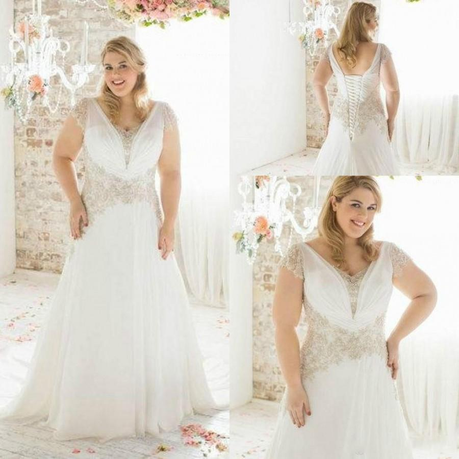 2015 Spring Plus Size Wedding Dresses With Cap Sleeves Sheer Ivory ...
