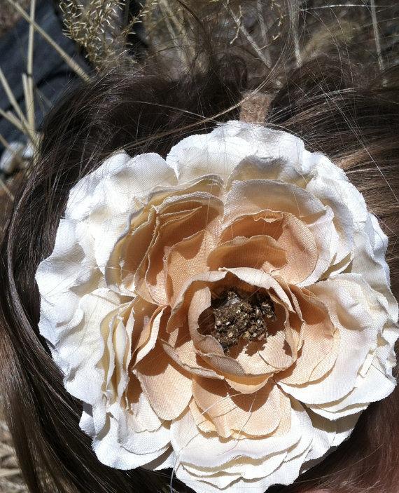زفاف - Ivory/Cream Flower Girl Headband Rustic Headband/Country Wedding/Shabby Chic Headband/Rustic Wedding/Shabby Chic Flower Girl/Burlap Headband