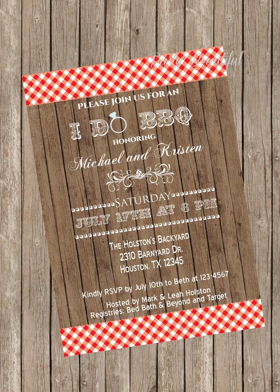 Couples Or Coed Bridal Shower Printable Invitation Rustic I Do BBQ