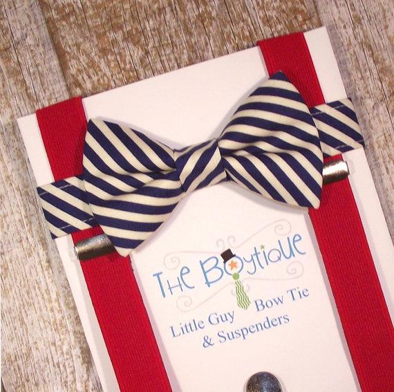 Свадьба - Navy Bow Tie and Suspenders, Red Suspenders and Bow Tie, Striped Bow Tie, Toddler Suspenders, Boys, Kids, Ring Bearer Gift, Nautical