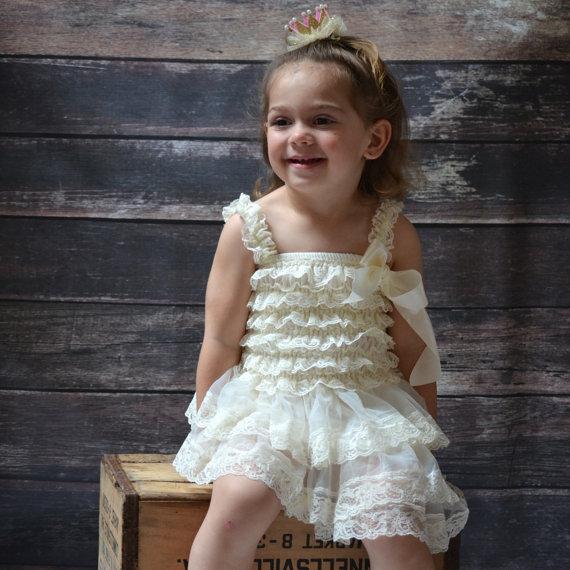 Wedding - Ivory Baby Dress - Rustic Flower Girl Dress - Vintage Birthday Party Dress - Baby Girl Wedding Dress - Rustic Wedding Dress - Cowgirl Dress