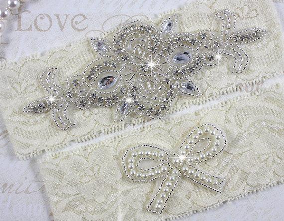 Mariage - MADRID - Pearl Wedding Garter Set, Lace Garter, Rhinestone Crystal Bridal Garters