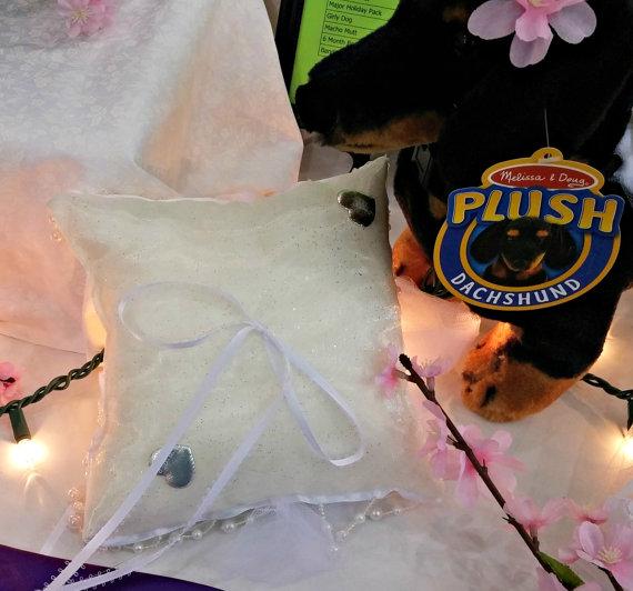Wedding - Bells and Beads Ring Bearer Pillow Handmade Dog Wedding Apparel