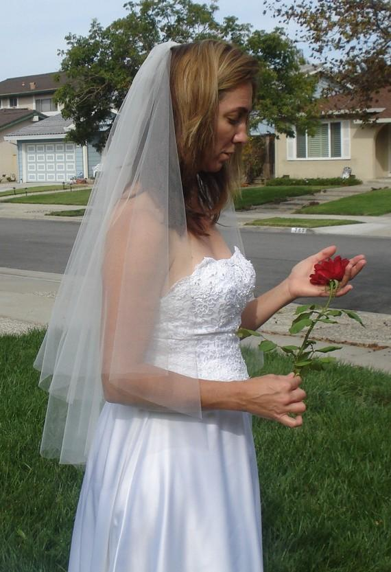 Mariage - Fingertip Length Two Tier Raw Edge Circular Cut Wedding Veil, Ivory or White - READY TO SHIP in 3-5 Days