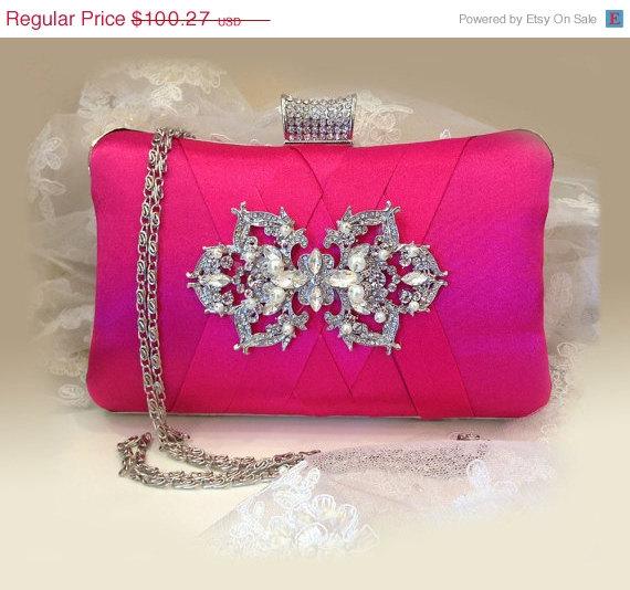 Hochzeit - wedding clutch, formal clutch, Hot pink clutch, evening bag, bridesmaid clutch, bridesmaid bag, crystal clutch