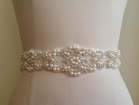 "Wedding - Wedding Dress Sash Belt - Crystal Pearl Sash Belt = 21 1/2"" long"