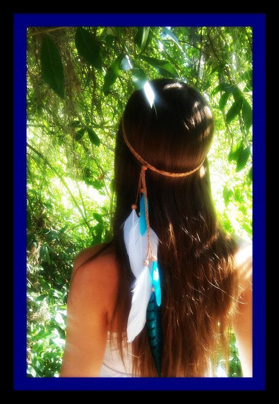 Mariage - Turquoise Princess - Feather headband, native american, indian headband, hippie headband, bohemian headband, wedding veil, feather veil