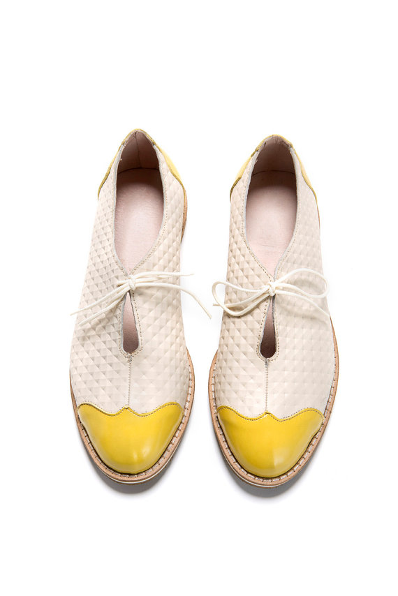 sale 45 oxford flat shoes white and yellow oxford