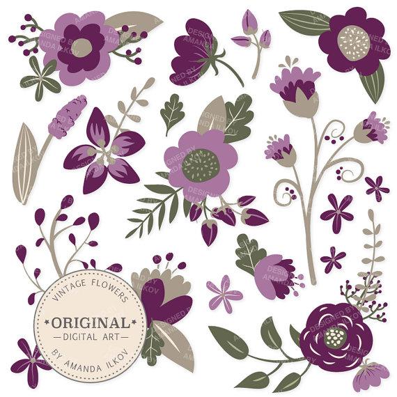 Mariage - Premium Plum Floral Clipart & Flower Vectors - Plum Flowers, Vintage Flowers, Flower Clip Art, Vector Flowers