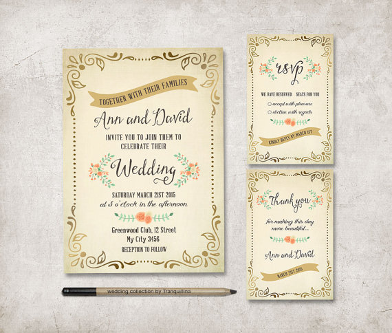 rustic wedding invitation printable wedding stationery set digital file spring floral wedding invitation suite