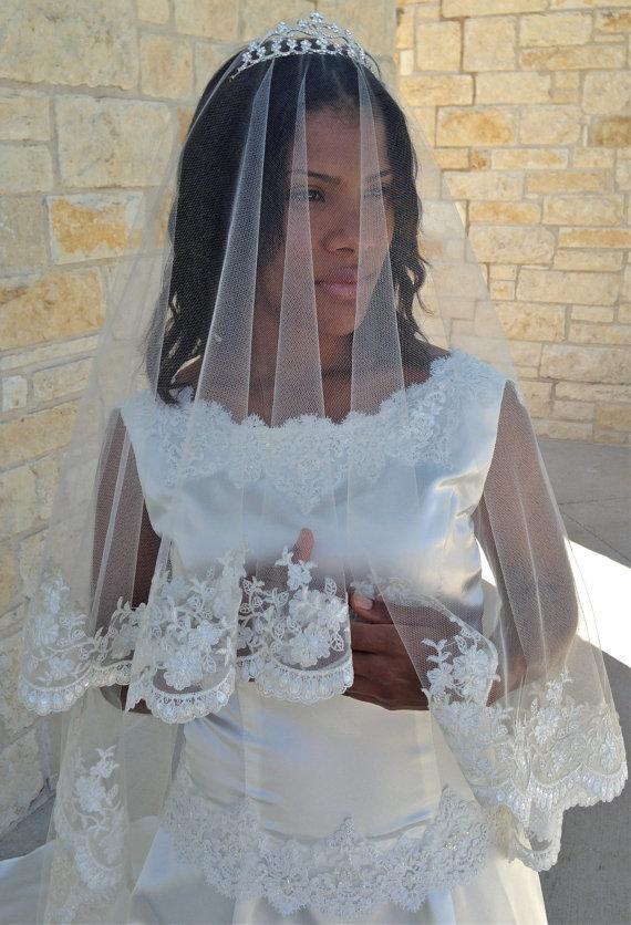 Lace Veil Mantilla Beaded Lace CATHEDRAL LENGHT with blusher and tiara