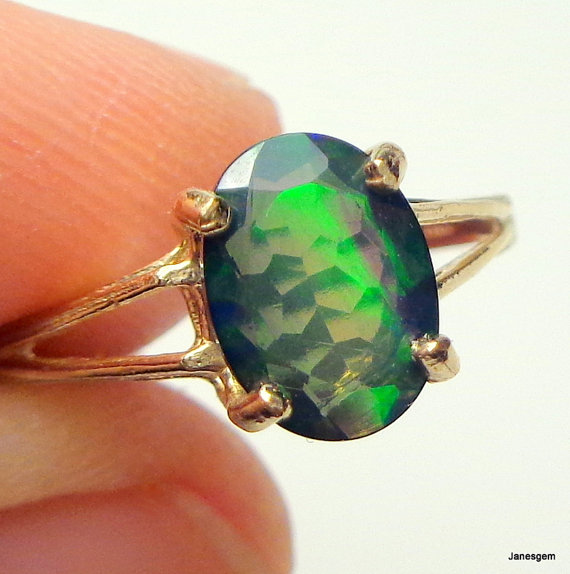 Свадьба - Solid 10k Yellow Gold Ring, Black Welo Opal Ring, Color Play, Green, Orange, Yellow Fire, Promise Ring, Engagement Ring, Ethiopian Opal