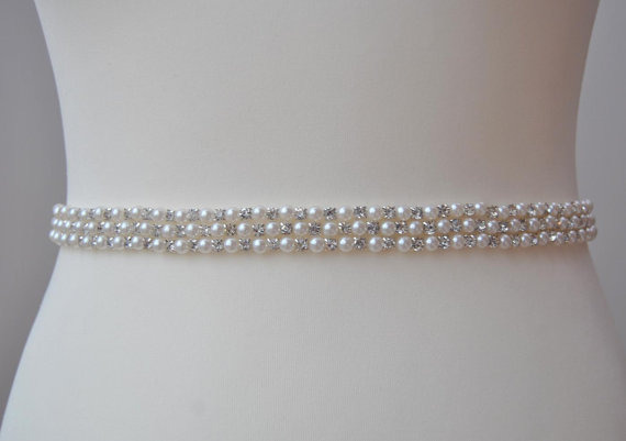Stunning Pearls Crystal Bridal SashWedding Dress Sash Belt Rhinestone Bridesmaid Wedding