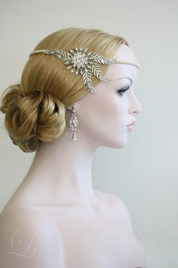 Wedding Head Chain Halo Headpiece Crystal Leaf Bridal Hair