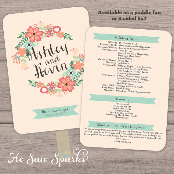 Mariage - Printable Paddle Fan Program - Banner Flowers Collection