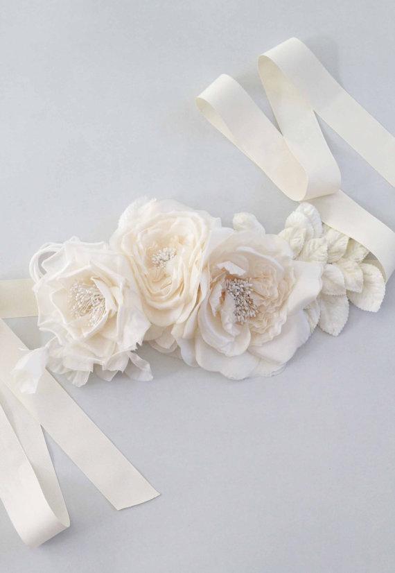زفاف - Jasmine Floral Bridal Sash Wedding Belt
