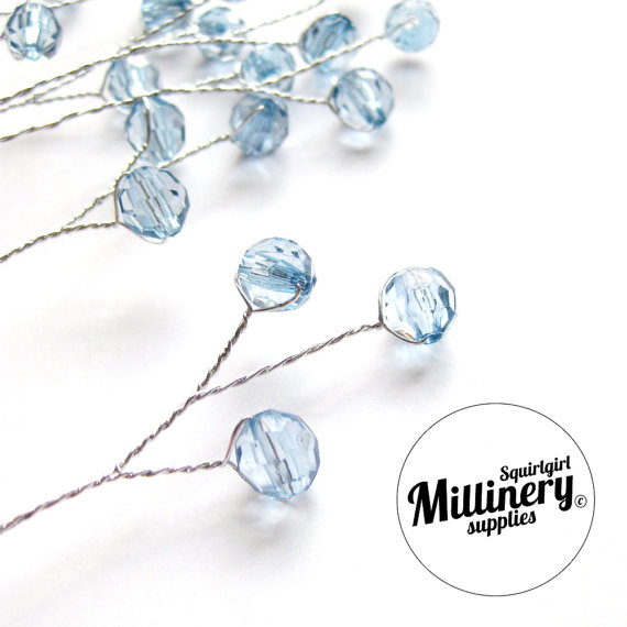Mariage - 6 Aqua Blue Acrylic Bead Picks on Silver Wire for Millinery and Wedding Flower Bouquets