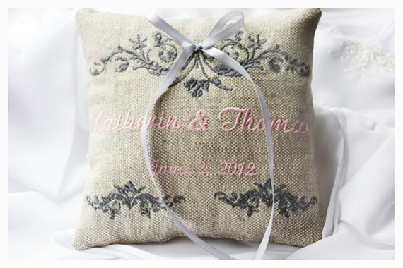 Personalized Ring Bearer Pillow Linen Wedding Custom Embroidered R10