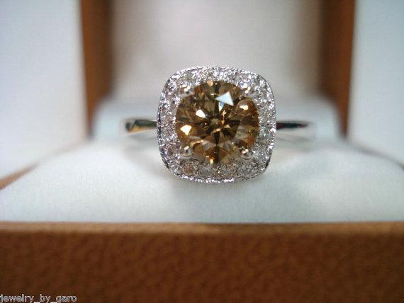 Mariage - Champagne Brown Diamond Engagement Ring 1.10 Carat 14K White Gold HandMade Halo