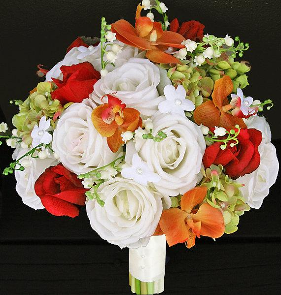 Silk Orange Fall Flowers: Fall Wedding Off White Orange And Red Roses And Orchids