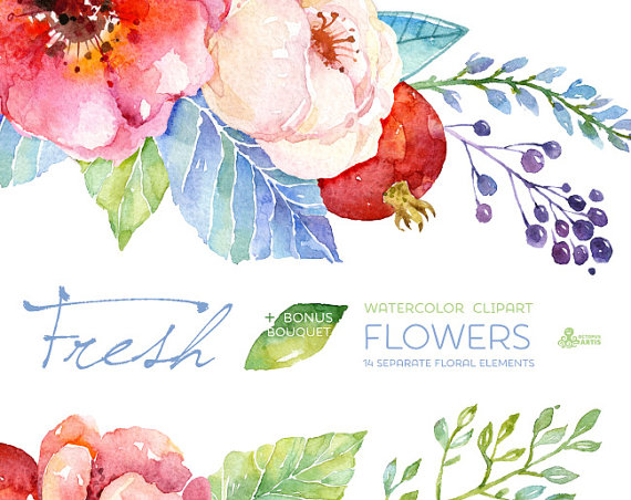 Fresh flowers clipart bouquet handpainted watercolor wedding handpainted watercolor wedding invitation separate floral elements greeting card diy pomegranate m4hsunfo