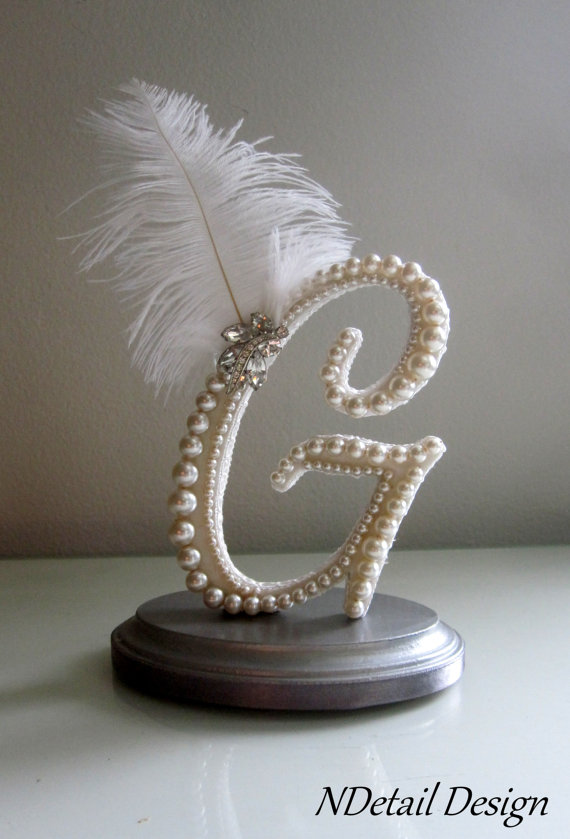 Wedding - Wedding Cake Topper Custom Letter G Vintage Ivory Pearl, Lace, Ostrich Feather & Rhinestone Brooch for Gatsby, Art Deco or 1920's Shower