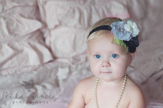 Mariage - READY TO SHIP: Soft Chiffon Mesh Baby Headband, Baby Headbands, Leaves Headband, Newborn headband, baby bows. Photography Prop