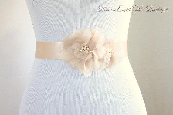 Hochzeit - Blush Organza Flower Bridal Sash, Blush Bridal Belt, Blush Wedding Belt