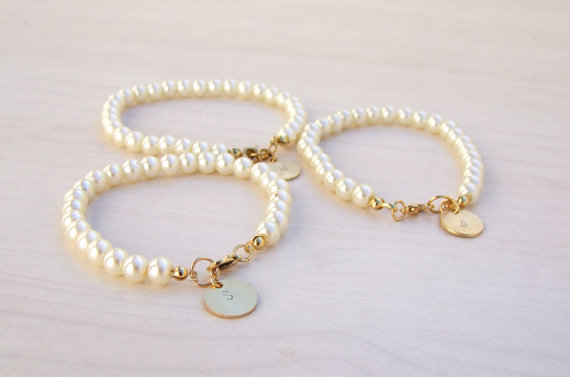Pearl And Gold Bridesmaids Bracelet Personalized Gift Initial Wedding Flower