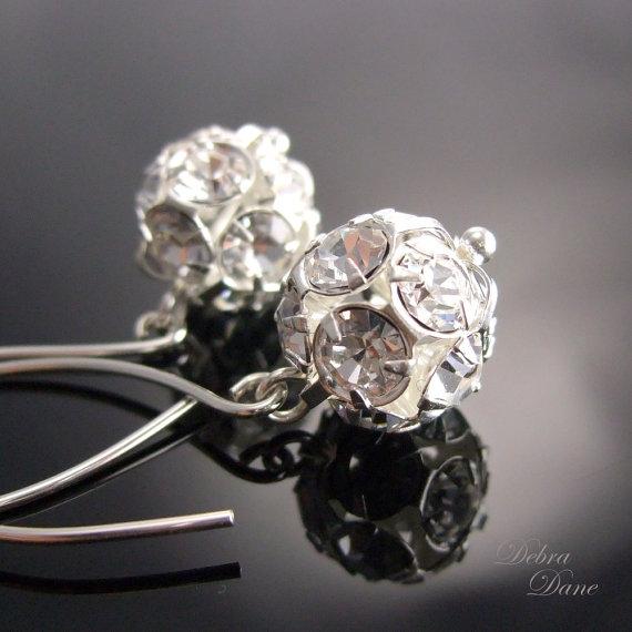 زفاف - Rhinestone Ball earrings, Winter Wedding, Bridal Jewelry