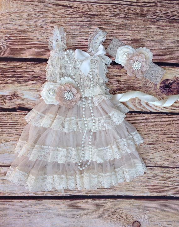 Wedding - Tan Beige Lace BurlapToddler Baby Girl Dress, Burlap Flower,Tan Beige Flower Girl Dress, Toddler Vintage Dress, Photo Prop Rustic