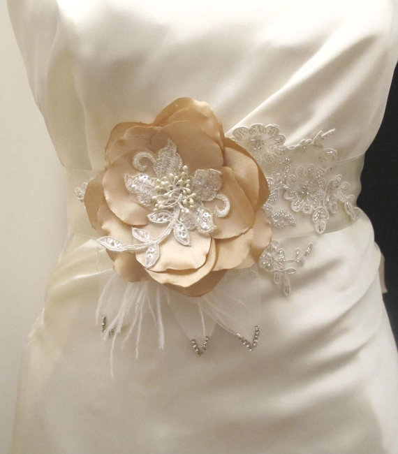 Свадьба - Champagne Gold  Flower Belt Bridal Wedding Sash Bridal Belts Sashes