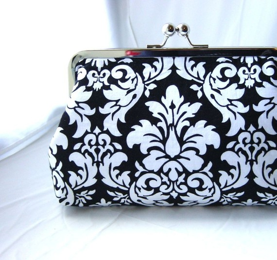 Mariage - Black and White Bridal Clutch / Damask Clutch / Black and White Damask Wedding Clutch - Bernice