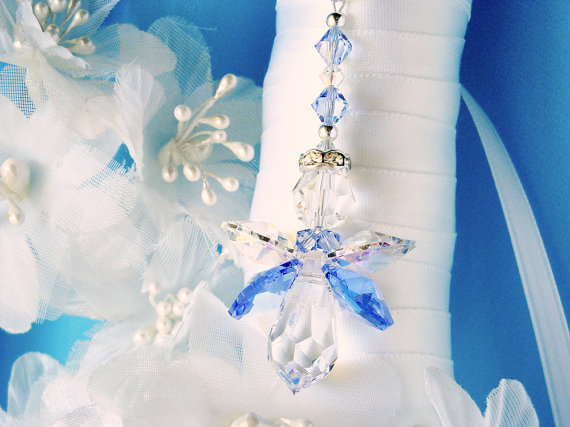 Свадьба - Something Blue Wedding Bouquet Charm Swarovski Crystal Angel Bridal Bouquet Charm