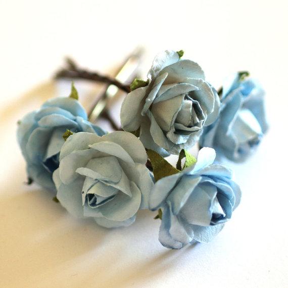 Свадьба - Serenity Rose, Bridal Hair Accessories, Bohemian Wedding Hair Accessory, Something Blue Hair Flower, Brass Bobby Pins - Set of 5