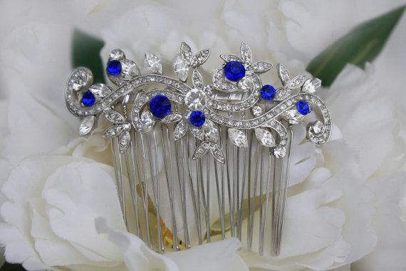 Hochzeit - sapphire blue swarovski crystal bridal hair comb royal blue rhinestone silver hair comb blue wedding hair comb bridal hair accessories blue