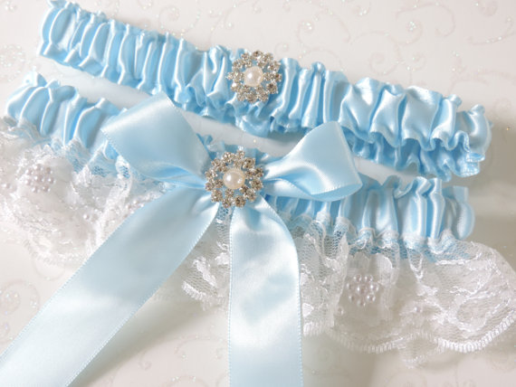 Свадьба - Wedding Garter, Wedding Garter Set, Ivory Blue Wedding Garter Set, Garters, Bridal Garters, Ivory Garters, Something Blue Garters