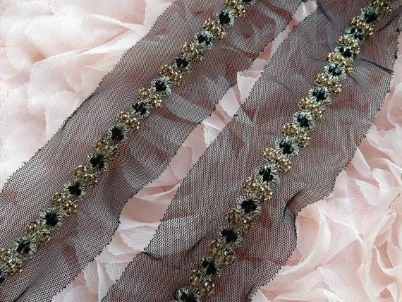 Hochzeit - Gold and Black Beaded Trim with silver thread for Bridal, Wedding Belt, Straps, Sashes, Costume Design
