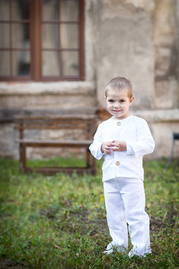 Свадьба - Boy linen pants - Baby boy linen trousers - Boy white linen pants - Kids linen trousers - Toddler boy clothing