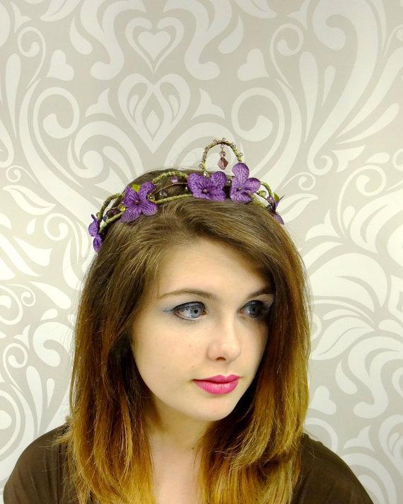 Hochzeit - Dark Purple Flower Crown, Bohemian Headband, Floral Wreath, Flower Headpiece, Purple Woodland Crown, Elven Crown, Fairy, Cosplay, Mori Kei