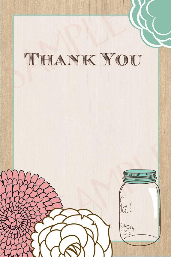 Mariage - Rustic Mason Jar with Woodgrain Bridal Shower Thank You- Printable