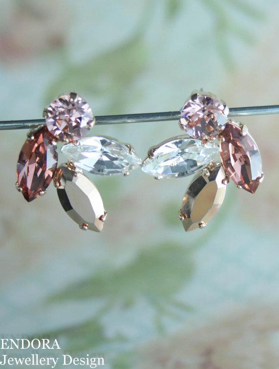 زفاف - Blush pink rose gold earings,blush crystal earrings,rose gold earrings,blush bridal earrings,blush wedding jewelry,marquise navette earrings