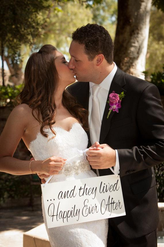 Wedding - and they lived Happily Ever After -One sided -  Ring Bearer sign, Flower girl sign, Disney Wedding Sign