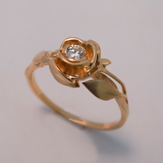 Rose Engagement Ring No 3 14K Rose Gold And Diamond Engagement