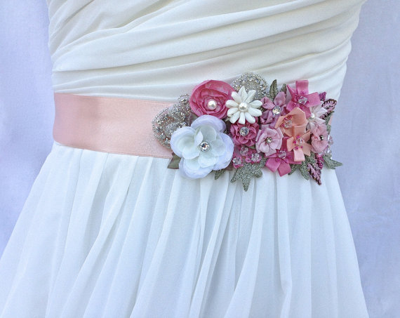 Свадьба - Bridal Sash-Wedding Sash In Blush Pink, Ivory Rose And Peach With Lace, Pearls And Crystals, Wedding Dress Sash, Bridal Belt,