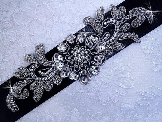 Свадьба - Black Belt Sash , Wedding Sash Belt , Bridal Belt , Bridal Sash , Prom Belt Sash , Crystal Beaded Applique