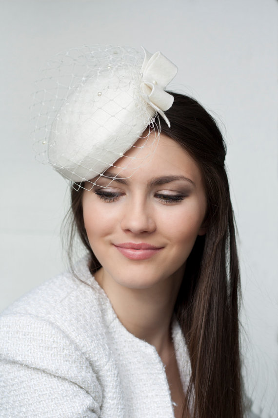 Bridal Wool Pillbox With Bow And Veil 17af8e735e5